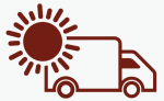 Image of sun and shipping truck.